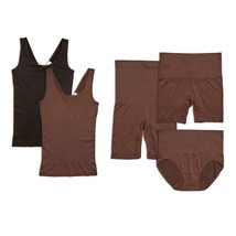 Yummie Seamless Wardrobe Essentials 5-piece in Black/Coffee Bean, L/XL (... - $44.54