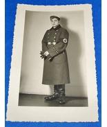 ORIGINAL WW2 GERMAN PHOTO: NAZI R.A.D. BOY W/ ARMBAND & CUFF TITLE, FEB.... - $7.50
