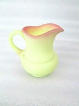 "Fenton Glass Burmese 4-1/2"" Cream Syrup Pitcher Uranium Glows - $38.60"