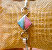 Authentic Dominican Blue Larimar Bracelet w/ Pink Conch Certified Silver... - $40.79