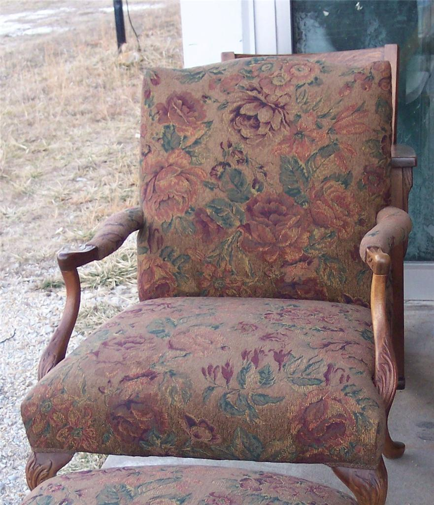 Mahogany French Carved Armchair/Parlor Chair brown flower print