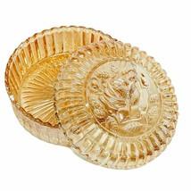 Amber Depression Glass Round Serrated Edge Rose Candy Jewelry Trinket Bo... - $11.87