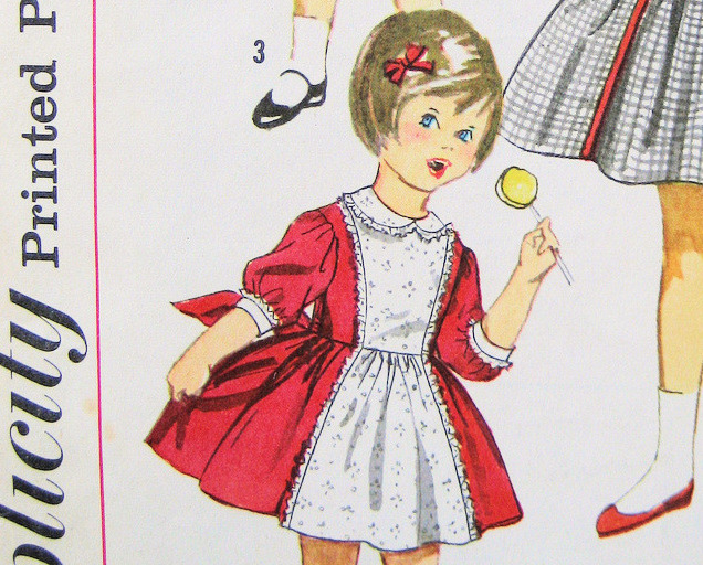 Simplicity 3759 Vintage1950s Pattern Girls  size 2 Bodice Dress w Full Skirt Bow Simplicity New Look