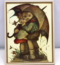 Vintage 8 1/2 X 11 Hummel Framed Art Print, Stormy Weather, West Germany - $5.95