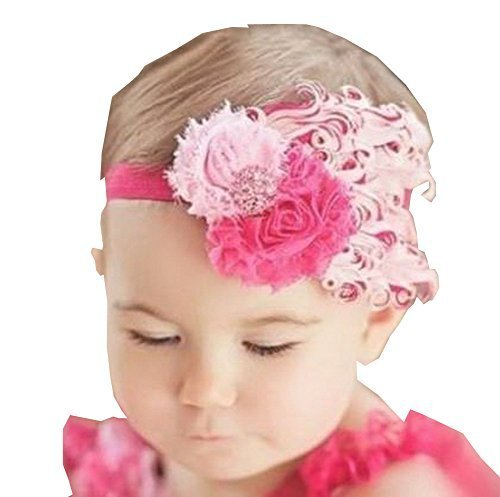 Beautiful Baby Girl Headband Cute Feather Apparel Accessory Pink (1~4Y)