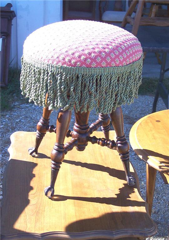 Mahogany Organ Stool/Piano Stool-pink/green print seat (ST82)