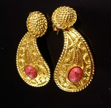 Couture earrings - Original by Robert - gold byzantine style - pierced d... - $75.00