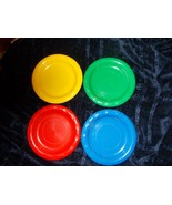 1992 VINTAGE DISCOVERY TOYS 4 PIECES PLASTIC PLATE BLUE,RED,GREEN,YELLOW - $6.50