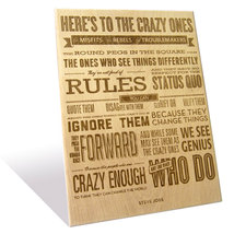 Apple's Here's to the Crazy Ones quote etched o... - $185.00