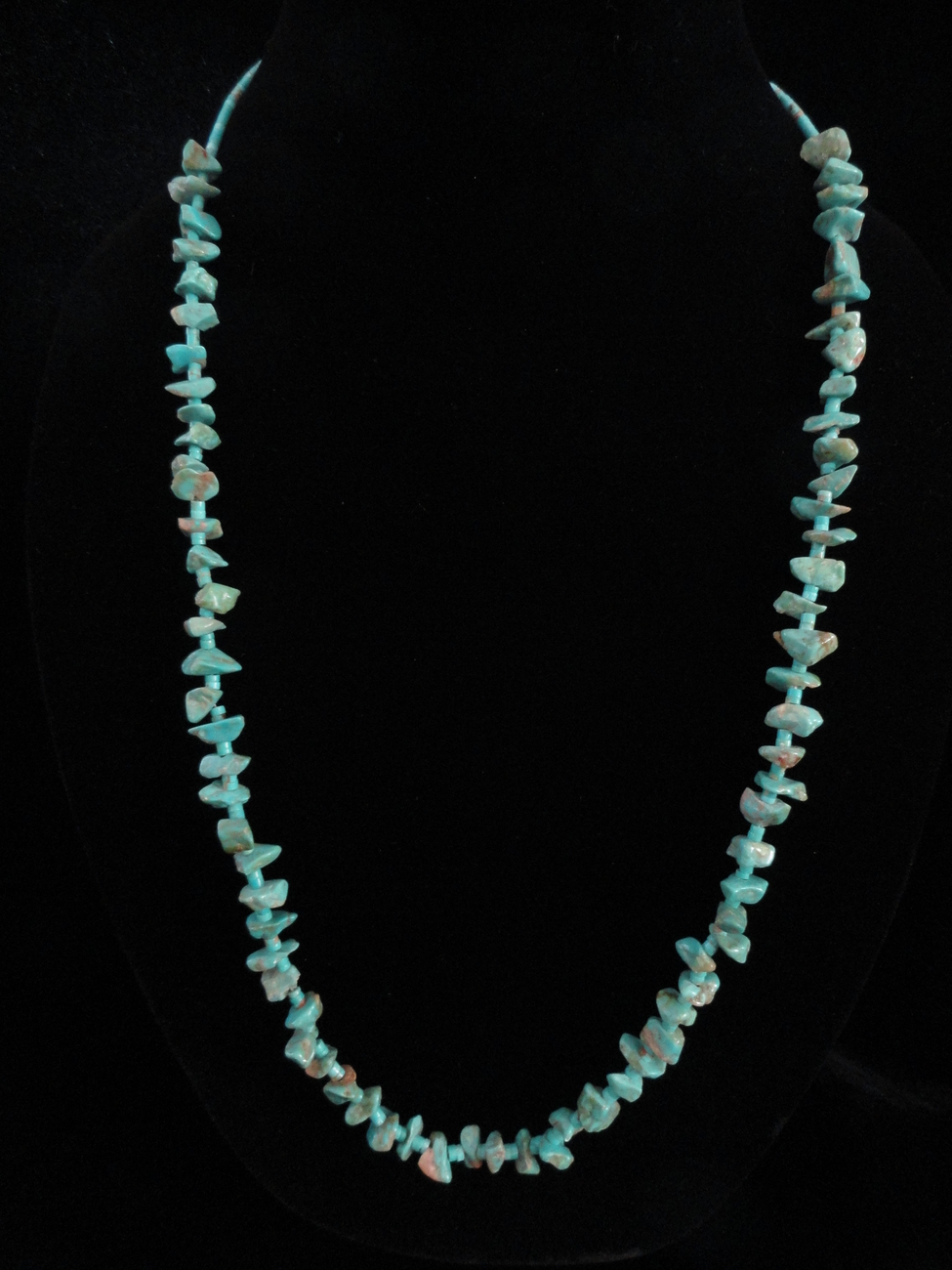 Turquoisenuggetheishisilver28inchnecklace