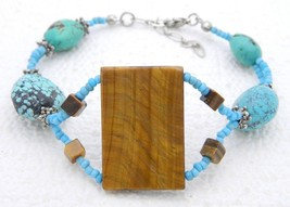VTG Silver Tone Turquoise Tiger's Eye Stone Bracelet - $19.80