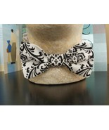 DAMASK BOW TIE Cotton Men's Black and White BowTie Wedding Party Groom, ... - $18.95