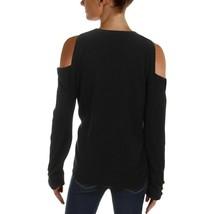 NEW Ralph Lauren Women's Lissie Black Soft Cold-shoulder Cashmere Knit Sweater image 2