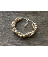 Champagne Pearl Bracelet Bridal Bracelet Twisted Clusters on Silver or Gold Chai - $18.00