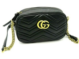 Authentic Black Leather Gucci Marmont Matelasse Purse Shoulder Bag - $849.95