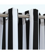 Outdoor Decor Coastal Stripe Woven Outdoor Curtain with Grommets, Black,... - £28.95 GBP