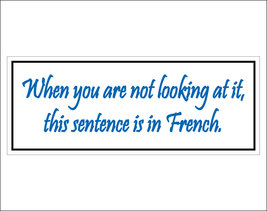 When you are not looking at it, this sentence is in French. - bumper sti... - $5.00