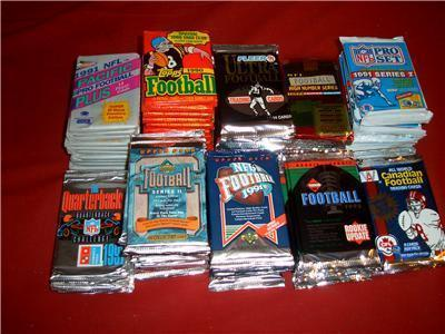 Primary image for 100 OLD FOOTBALL PACKS BULK LOT FAVRE 1200+ Cards