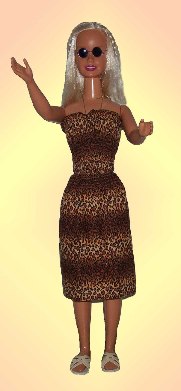 "Primary image for Dress for 36"" Doll My Size Barbie Handmade Brown Animal Print Summer Dress"