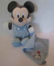 "Mickey Mouse Baby Plush Security Blue Blanket 11"" Doll Gray Pastel Disney - $39.55"