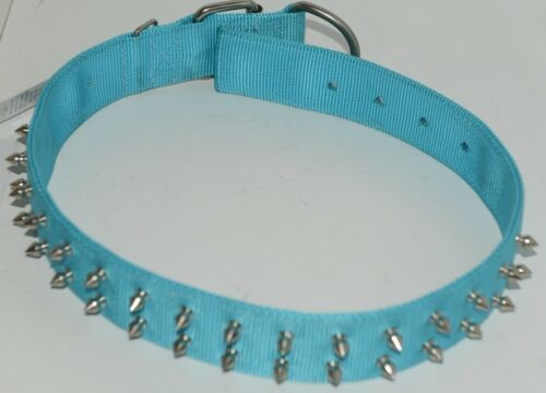 Valhoma 760 S26 TQ Spike Dog Collar Turquoise Double Layer Nylon 26 inches Pkg 1