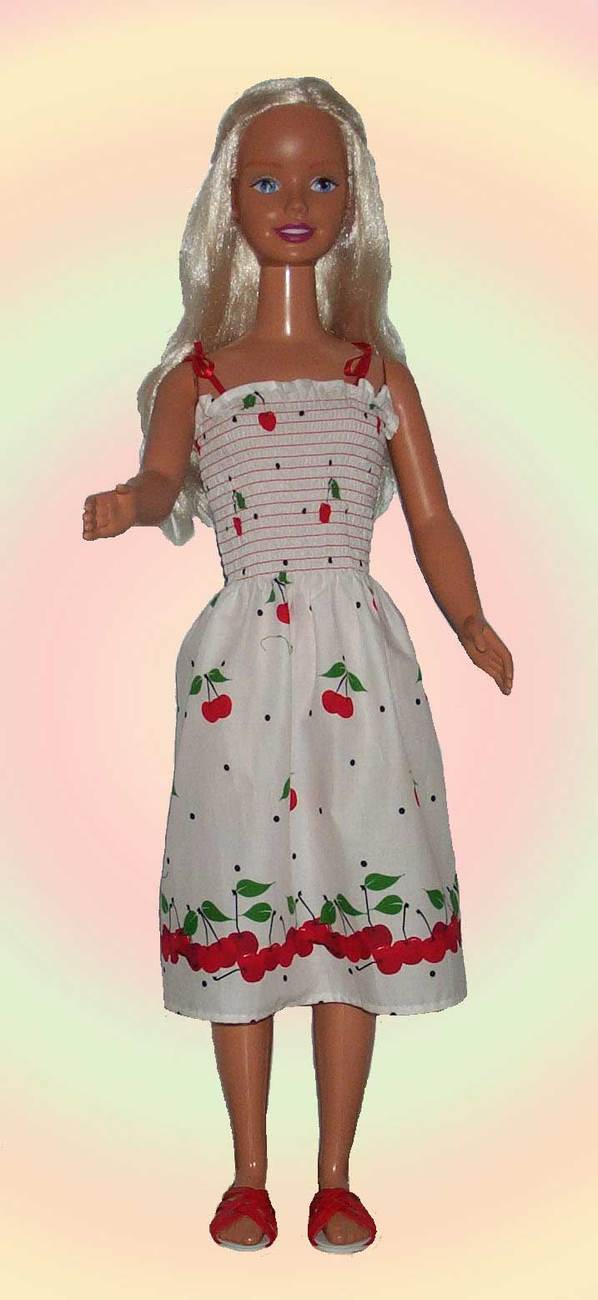 "White Cherry Print Summer Dress for 36"" Dolls such as My Size Barbie"