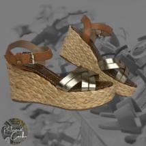 Sam Edelman Womens Gold Strap Open Toe Platform Espadrille Wedge Sandals Size 8 - $72.00