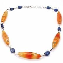 Halskette Silber 925, Achat Orange, Kyanit Blau, Halsnah 44 cm, Kette Rolo image 3