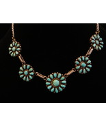 Turquoise Sterling Silver Petit Point Flower Concho Necklace - $159.00