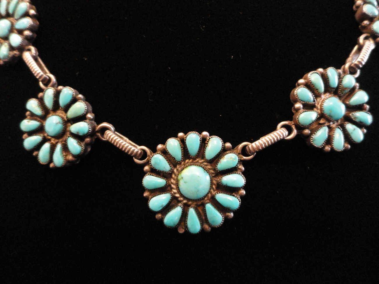 Turquoise Sterling Silver Petit Point Flower Concho Necklace