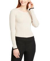 Ann Taylor Women's Ruffle Pointelle Sweater, Delicate Ecru, L (4413-5) - $34.65