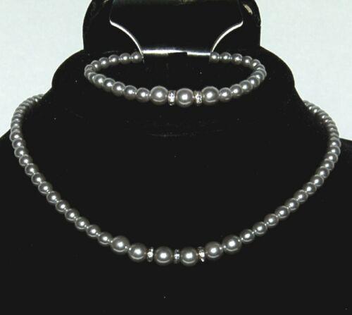 BVT NKBR Necklace Bracelet Set Metallic Gray Beads Rhinestone Studded Spacers