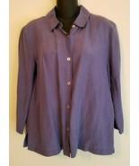 Eileen Fisher Womens Button Down Shirt Blouse Top Sz M Linen Silk 3/4 Sl... - $34.99