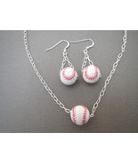Ceramic Baseball Earrings Pendant Handmade - $23.50