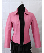 Chadwicks Awareness Pink Leather Outdoor Zippered Jacket w Collar Size S... - $82.95