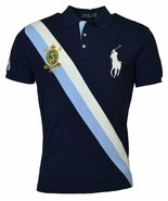 Polo Ralph Lauren Mens Big Pony Custom Slim Fit Crest Polo Shirt Blue, L... - $71.27