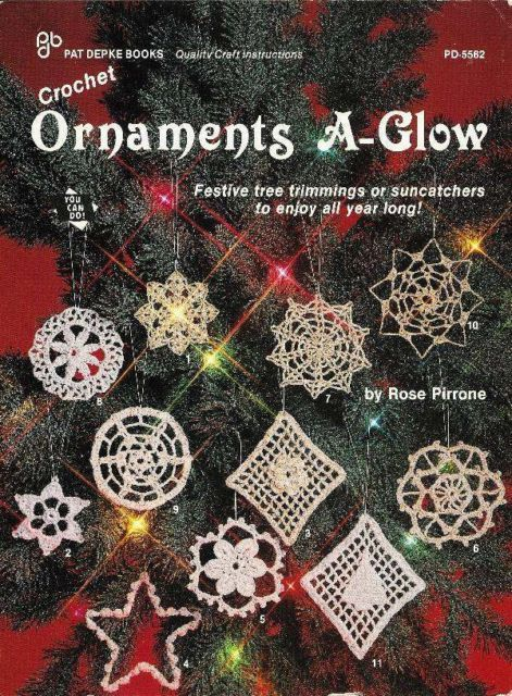 Primary image for X371 Crochet PATTERN ONLY Ornaments A-Glow Christmas Snowflakes Pattern