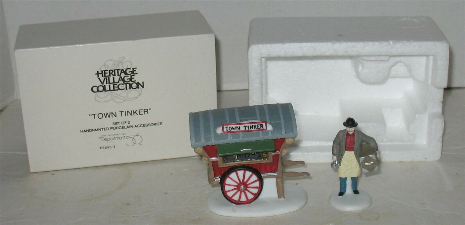 Vtg Department 56 Town Tinker Christmas Heritage Village Accessory in Box - $17.82