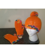 Orange Pom Pom Beanie & Mittens Set (handmade/crochet) - $35.00