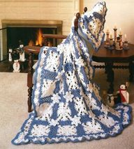 X433 Crochet PATTERN ONLY Snowbound Snowflake Afghan Pattern - $11.50