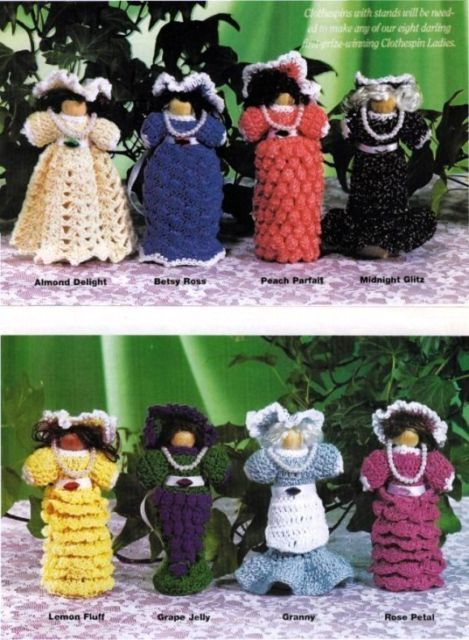 Primary image for X477 Crochet PATTERN ONLY Set of 8 Clothespin Ladies Doll Christmas Ornaments