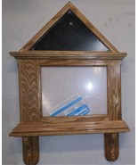 Oak Flag and Document Certificate display with matching shelf  for 3x5 flag - $150.00
