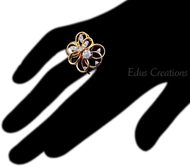 Custom Natural Diamond Openwork Filigree Flower Ring Women 14K Yellow Gold