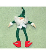 "12"" GREEN SANTA FLEXIBLE WIRED LIMBS PLUSH BODY PLASTIC HEAD SHELF DECOR... - $9.11"