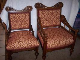 Pair Quartersawn Oak Pierced Carved His/Hers Armchairs - $1,095.00