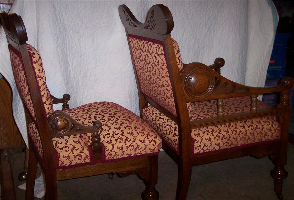 Pair Quartersawn Oak Pierced Carved His/Hers Armchairs