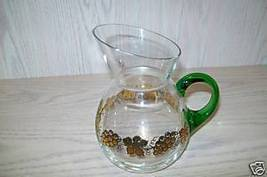 Glass Pitcher Grand Duche Hallmark Berries & Leaves - $9.95