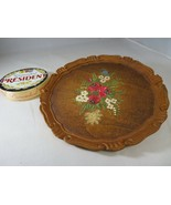 French farm flowers country wood plate handpainted mid century rustic décor - $29.00