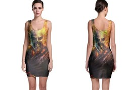 Skull On Fire Women's Sleevless Bodycon Dress - $21.80+
