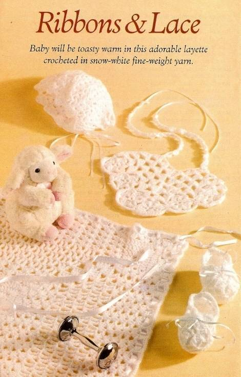 Primary image for Y489 Crochet PATTERN ONLY Ribbons & Lace Baby Bib Bonnet Booties Blanket Pattern